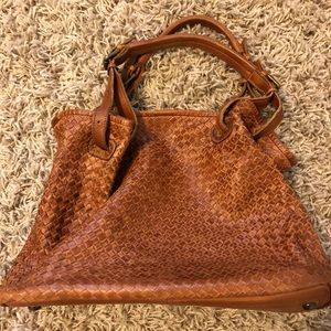 Valentina Italian leather woven large hobo